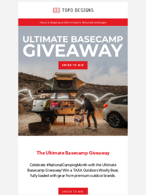 Topo Designs - Win Over $18k Worth of Camping Gear