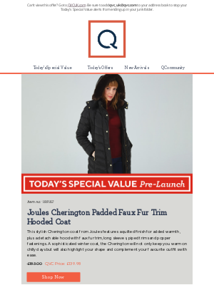 QVC (UK) - See Today's Special Value Pre-Launch: Joules Cherington Padded Faux Fur Trim Hooded Coat