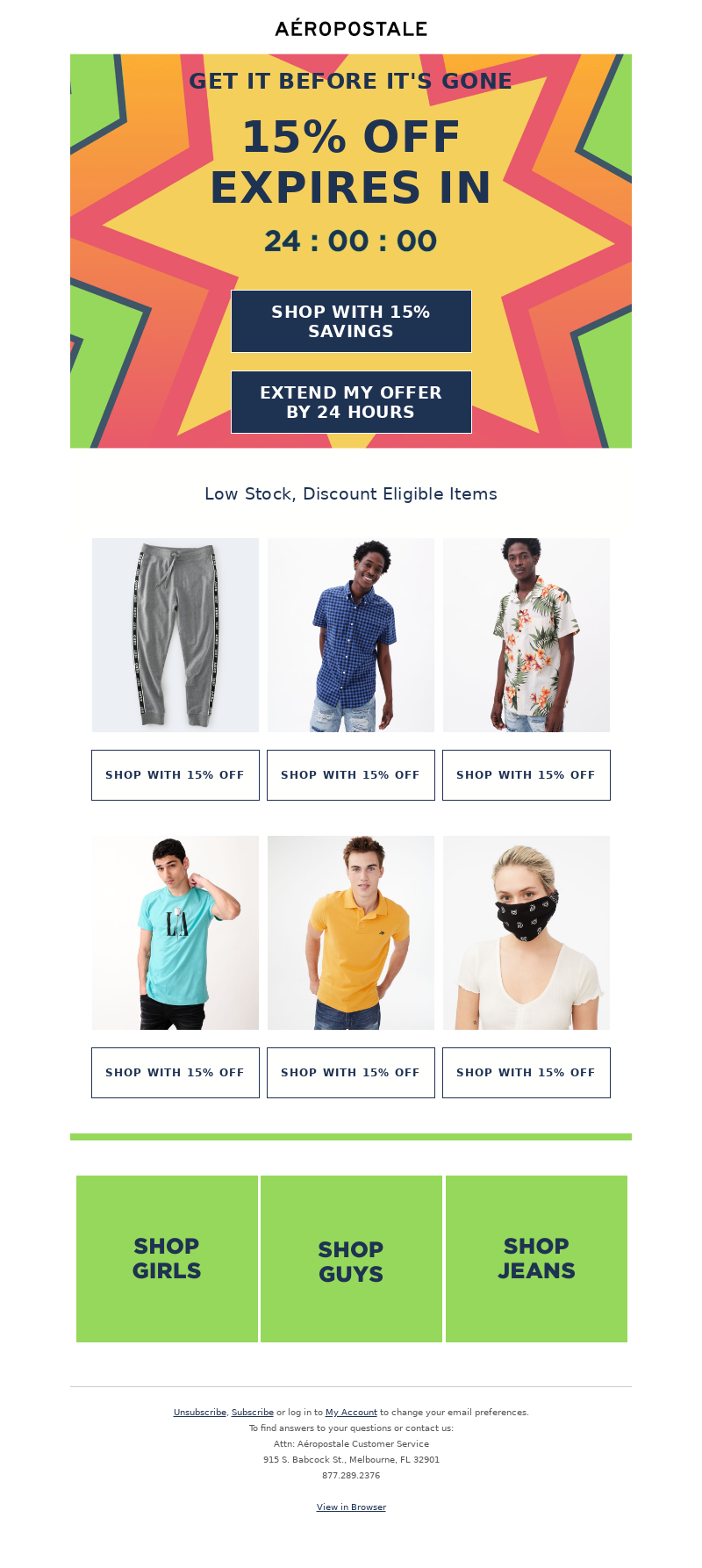 Aeropostale - Your 15% off expires in 24 hours