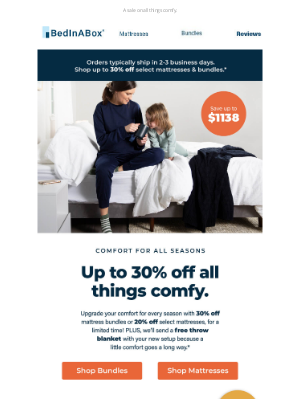 BedInABox - Stay cozy with up to 30% off mattresses & bundles.