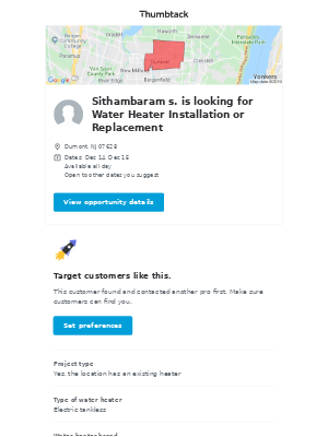 Sithambaram s. needs Water Heater Installation or Replacement in Dumont, NJ