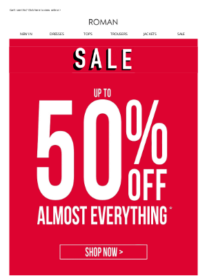 Roman Originals (UK) - It's official: 50% OFF (almost) EVERYTHING!