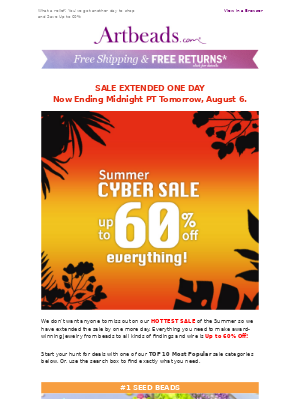 Extended One Day - Cyber Summer Sale Ends Tomorrow