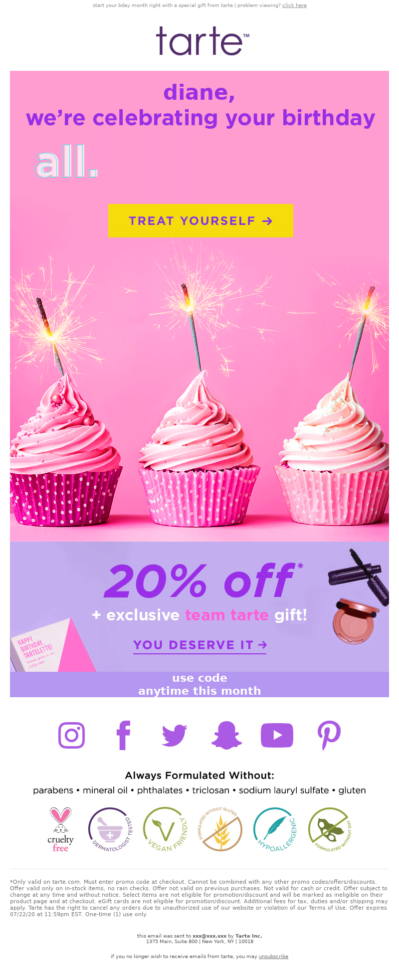 start your bday month right with a special gift from tarte | problem viewin