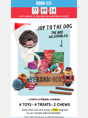 Last chance to get your dog's gift by Xmas (plus a FREE UPGRADE)