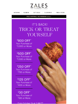 Zales - 🎃 This Is No Trick! Treat Yourself to Savings Up to $800!