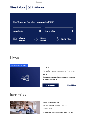 Lufthansa - Your current mileage balance in April
