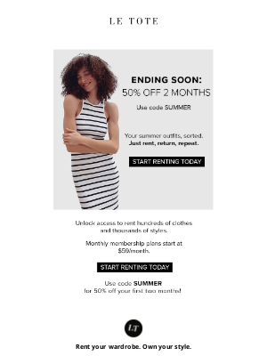 Le Tote - Get 50% off 2 months