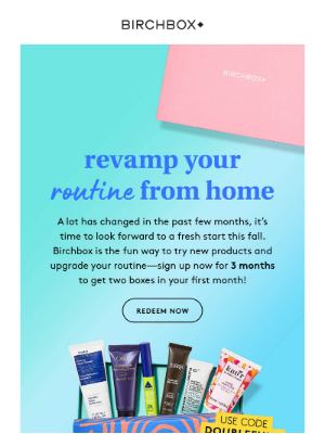 Birchbox USA - Don't forget: Get two boxes for the price of one!