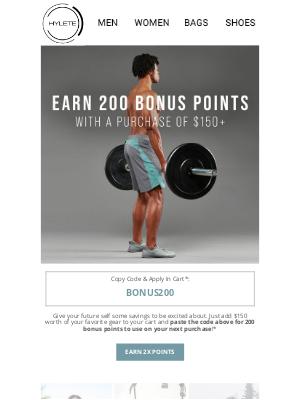 HYLETE LLC - Earn 200 Bonus Points
