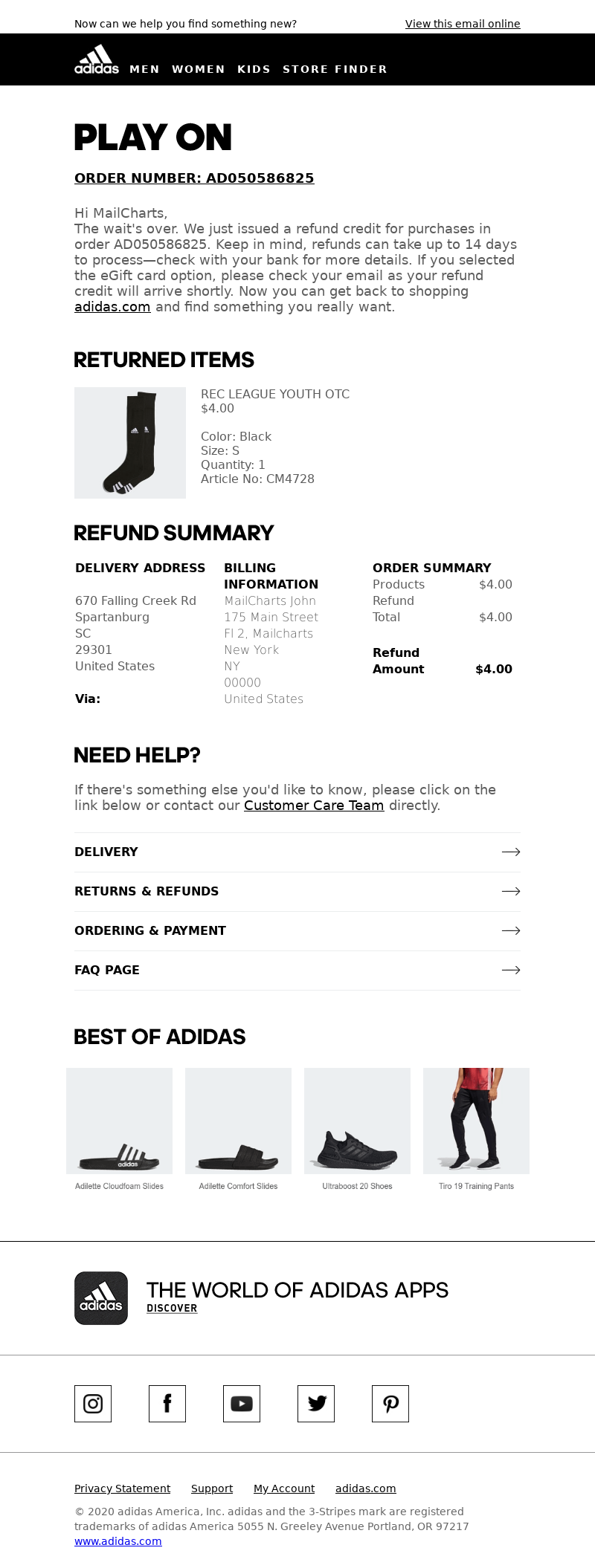 Adidas USA - MailCharts, your adidas return credit was issued
