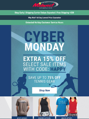 Midwest Sports - 🎾 ONE DAY Cyber Monday Sale - EXTRA 15% Off Clearance! 🎾