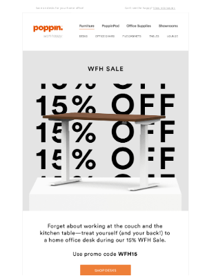 Poppin - WFH Sale: 15% Off Desks
