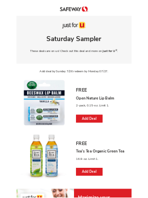 2 FREE items are waiting for you this weekend at your local Safeway