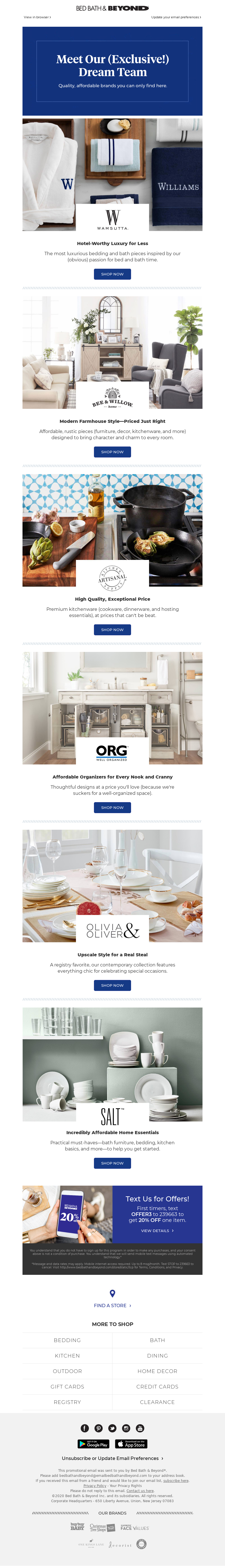 Bed Bath & Beyond Email example for onboarding new customers