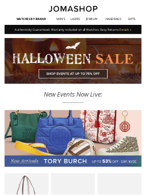 Jomashop - Official message ⇨ You've locked this down... valid beginning 10/23