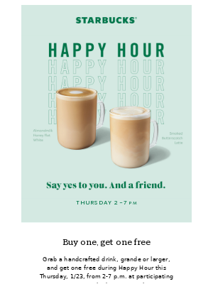 Don't miss a handcrafted Happy Hour