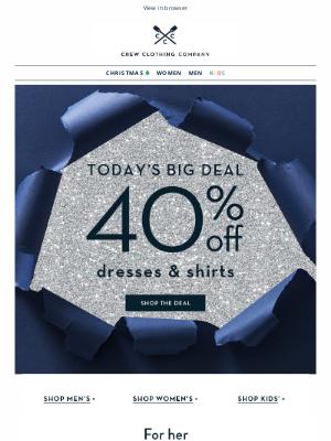 Crew Clothing (UK) - 40% off shirts & dresses ✨