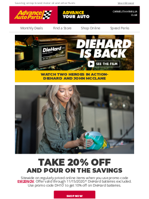 Advance Auto Parts - Help Your Engine Run Smooth + Take 20% Off