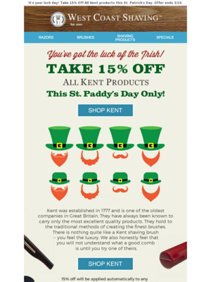 St. Paddy's Day Flash Sale! 15% off!