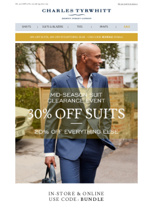Charles Tyrwhitt - Tyrwhitt sale 2.0: Now with suits from $104.30