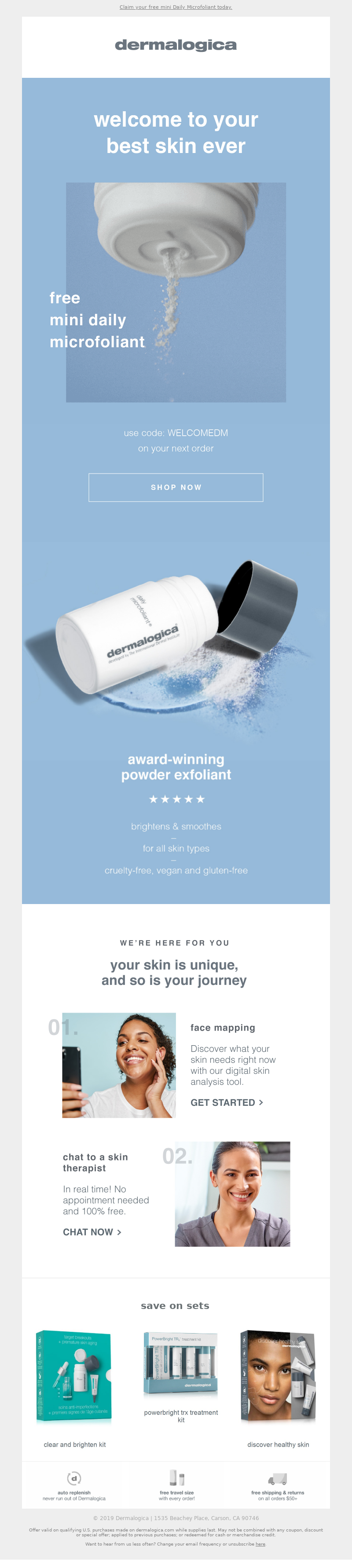 Welcome email example from Dermalogica