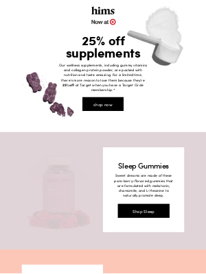 hims - score: vitamins and supplements are 25% off