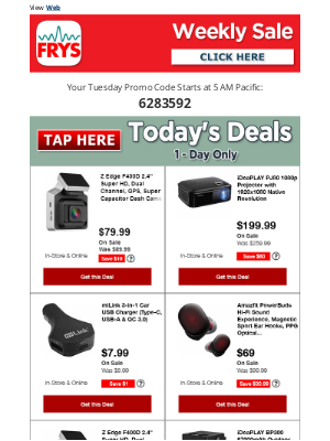 Fry's Electronics - $49.99 Everykey – Wireless Hardware clave Manager | $199.99 iDeaPlay 1080p Projector & More...