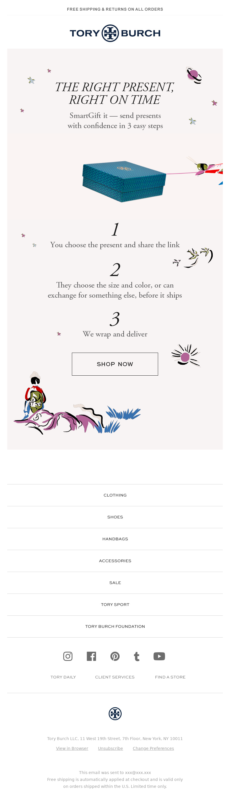 Christmas email example promoting last minute gifts