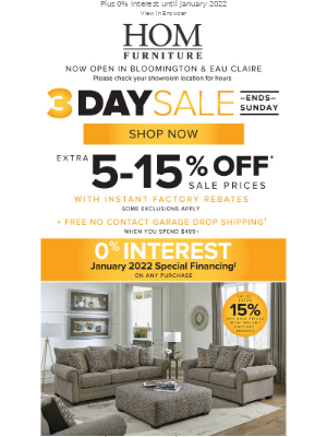 HOM Furniture - Ends Sunday - 3 Day Sale