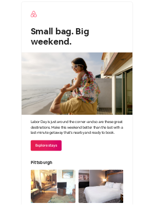 Airbnb - Great escapes for Labor Day