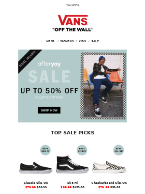 Up to 50% off ends tonight! | GET IN QUICK
