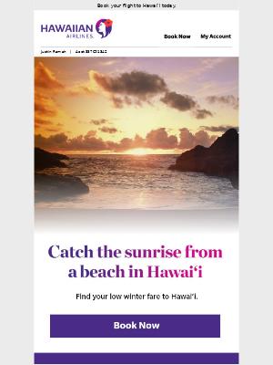 ☀️ Catch the sunrise from a beach in Hawai'i