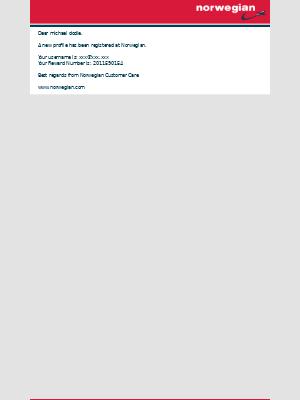 Norwegian Air Shuttle - Profile receipt