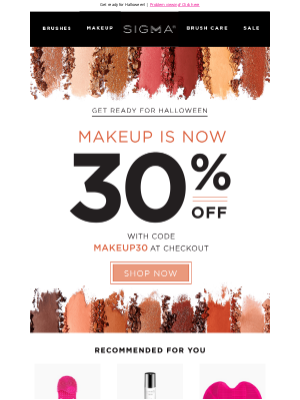 Sigma Beauty - 30% off makeup is ending TODAY!