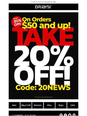 DrJays.com - Take 20% Off!
