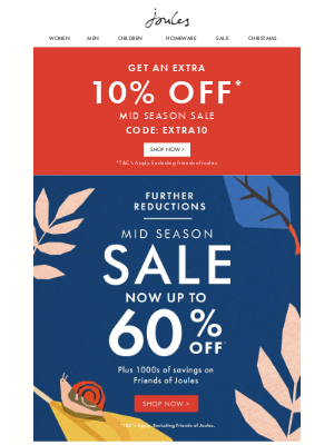 Joules (UK) - This email contains up to 60% off + an extra 10% off