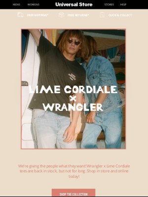 Universal Store - Wrangler x Lime Cordiale is back 🏄♂️