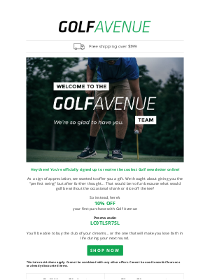 Golf Avenue (CA) - Birdie! Your 10% Gift Is Here!