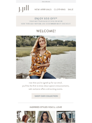 J. Jill - Welcome! Check out the benefits of being a J.Jill email subscriber.