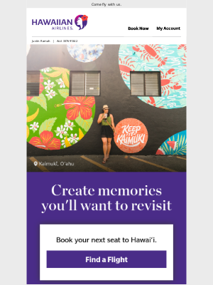 Hawaiian Airlines - It's time to take a little getaway ✈️