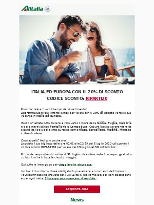 Alitalia (Italy) - Promo estate: 20% di sconto! ☀