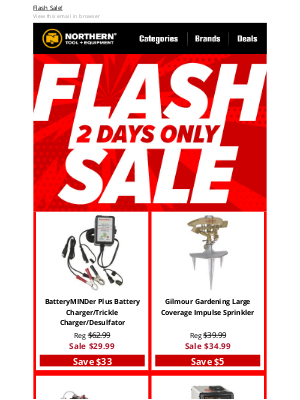 Northern Tool + Equipment - Flash Sale ⚡Limited Time⚡ Huge Savings