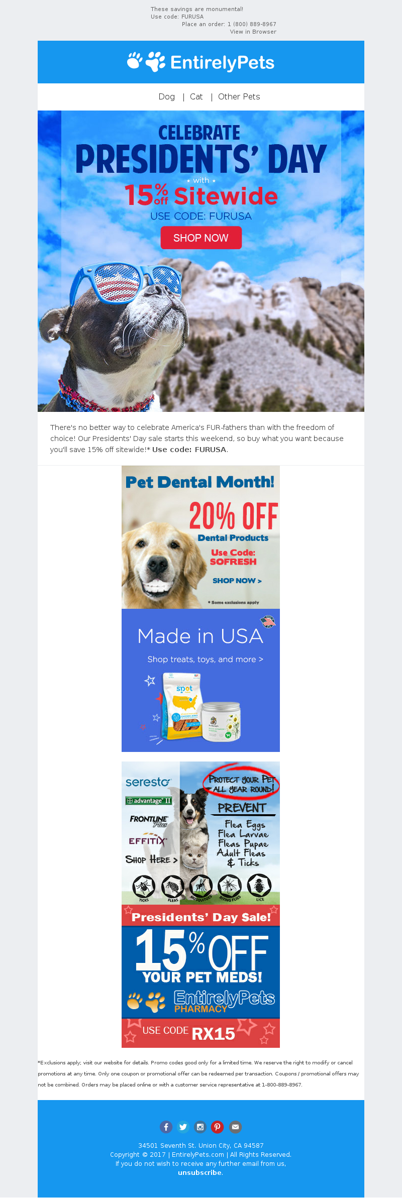 EntirelyPets - 15% off sitewide - Presidents' Day Sale starts NOW