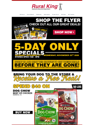 Rural King Supply - New Flyer + 5-Day Only Specials Start Now!