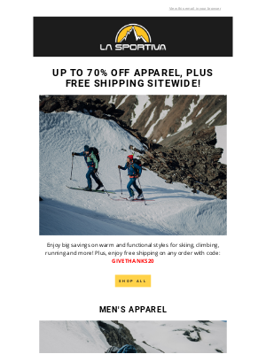 La Sportiva - 30% – 70% Off All Apparel, Plus Free Shipping Sitewide!