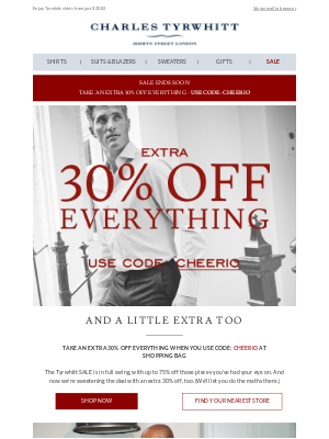 Charles Tyrwhitt - Save an extra 30% on Tyrwhitt shirts