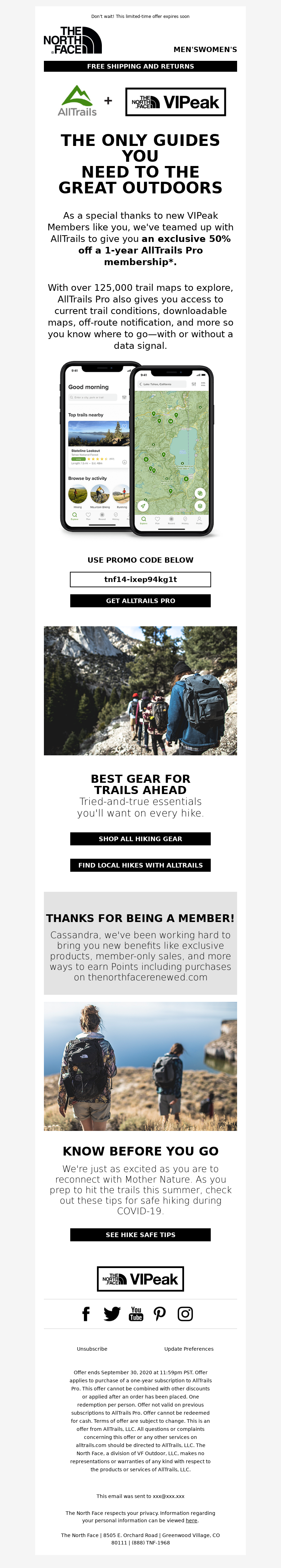The North Face - Cassandra, get 50% off 1 year of AllTrails Pro