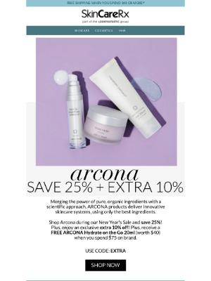 SkinCareRx - ARCONA | Save 25% + Extra 10% Off + Free $40 Gift