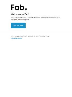 Fab - Customer account confirmation
